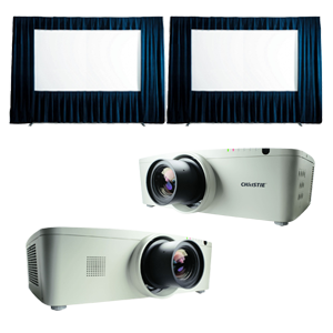 Dual 6x10 Fast-Fold Screens and Projectors
